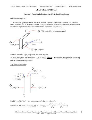 LECTURE NOTES 7.5 - University of Illinois High Energy Physics