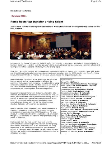 Rome hosts top transfer pricing talent - BMR & Associates