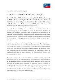 Pressemitteilung der SMA Solar Technology AG Erneut Top ...