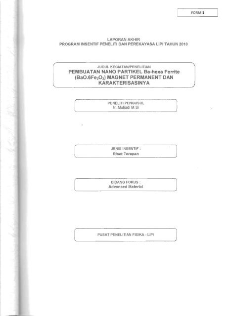 PEMBUATAN NANO PARTIKEL Ba-hexa Ferrite (BaO ... - KM Ristek