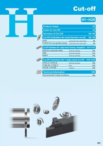 Cut-Off Toolholders (for 2-edge insert)
