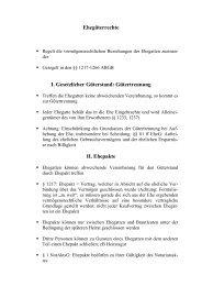 Ehegüterrechte I. Gesetzlicher Güterstand: Gütertrennung II. Ehepakte