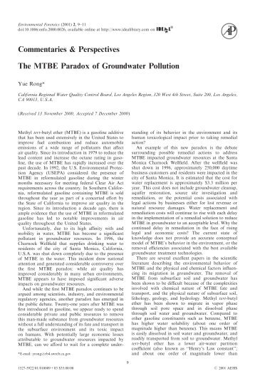 The MTBE Paradox of Groundwater pollution - ElectronicsAndBooks