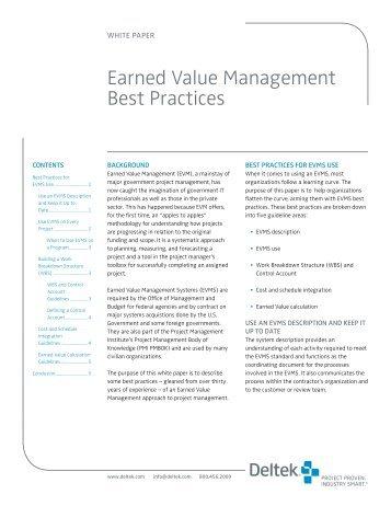 Delteck EVM Best Practices White Paper - AcqNotes.com