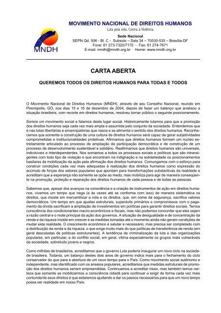 CARTA ABERTA - AATR