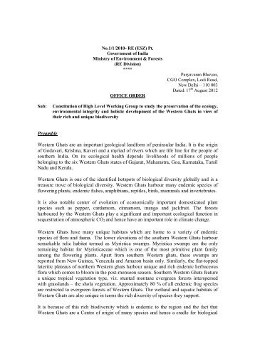 Constitution of High Level Working Group to study the preservation ...