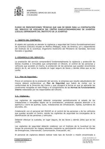PLIEGO PRESCRIPCIONES TÉCNICAS CONTRATACIÓN ... - Injuve