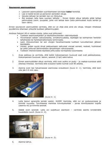 Saunaoven asennusohjeet - Netrauta.fi