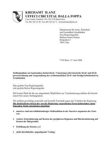 Stellungnahme Justizreform - Kreis Ilanz