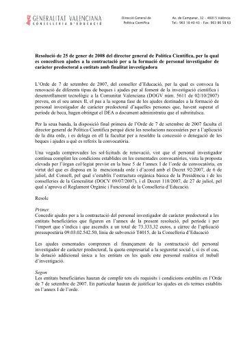 Resolució de 25 de gener de 2008 del director general de Política ...