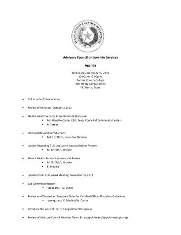 Advisory Council on Juvenile Services Agenda
