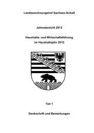 Jahresbericht 2013 - Landesrechnungshof Sachsen-Anhalt