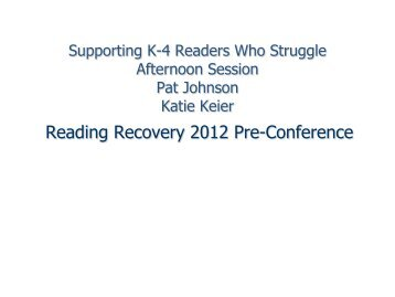 Johnson, Pat - Preconference Handout 3 - Reading Recovery ...