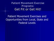 Patient Movement Exercise Programs: Get Fit or Get Hit! - The 2012 ...