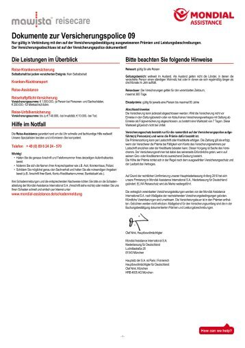 Fakultative Versicherungspolice Mawista Reisecare_AVB09_RZ