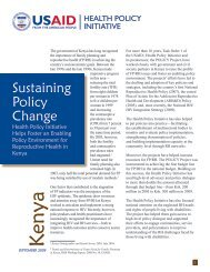 Sustaining Policy Change: Health Policy Initiative Helps Foster an ...