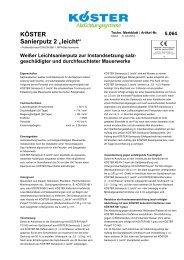 "KÖSTER Sanierputz 2 ""leicht"" - Köster Bauchemie AG"