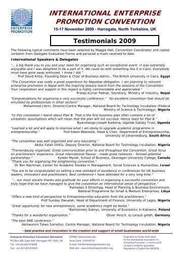 Testimonials 2009 - Enterprise Promotion Convention