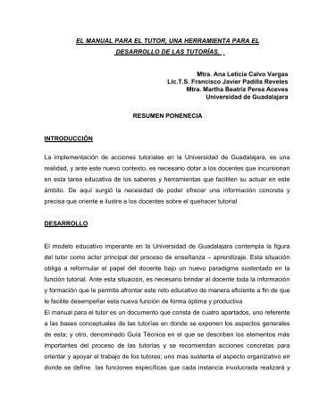 EL MANUAL PARA EL TUTOR, UNA HERRAMIENTA PARA EL ...