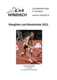 Rangliste und Bestenliste 2012 - LAR Windisch