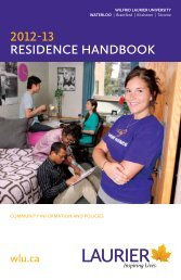 Residence Handbook 2012-2013 - MyLaurier