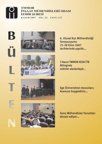 Kasım 2007 - Sayı: 137 (10520 KB) - İzmir - TMMOB İnşaat ...