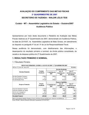 AVALIAÇÃO DO CUMPRIMENTO DAS METAS FISCAIS - Sefaz