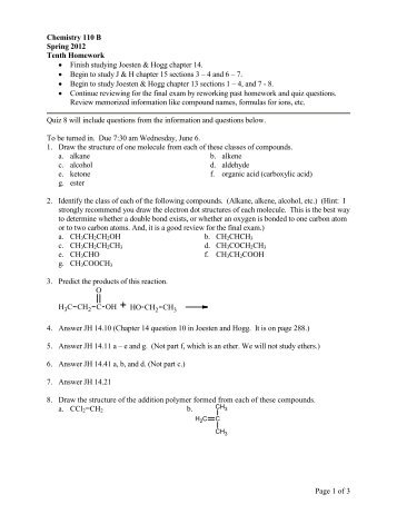 Chemistry 100 Second Homework