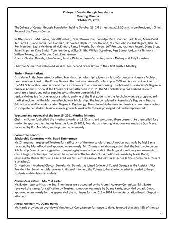 1 College of Coastal Georgia Foundation Meeting Minutes October ...