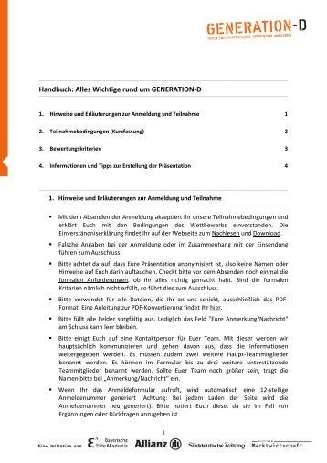 Handbuch: Alles Wichtige rund um GENERATION-D