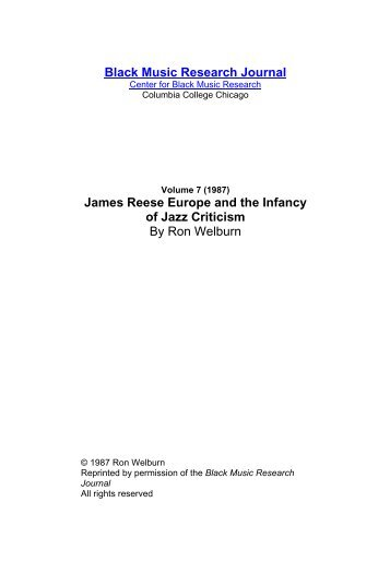 7 James Reese Europe.pdf - Jazz Studies Online