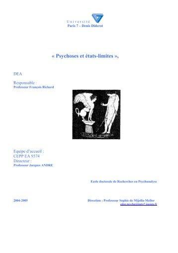 « Psychoses et états-limites », - Université Paris Diderot-Paris 7