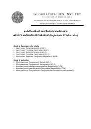 Modulhandbuch Bachelor GRUNDLAGEN DER GEOGRAPHIE