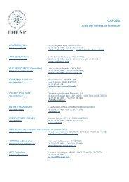 CAFDES liste centres - EHESP