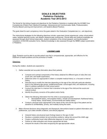GOALS U0026 OBJECTIVES Pediatrics Clerkship Academic Year 2012 .  Career Goals And Objectives