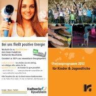 Ferienbroschüre der Stadt Rüsselsheim für Kinder und Jugendliche