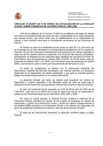 - 1 - CIRCULAR 01.04/09/P, DE 19 DE ENERO, DE ...