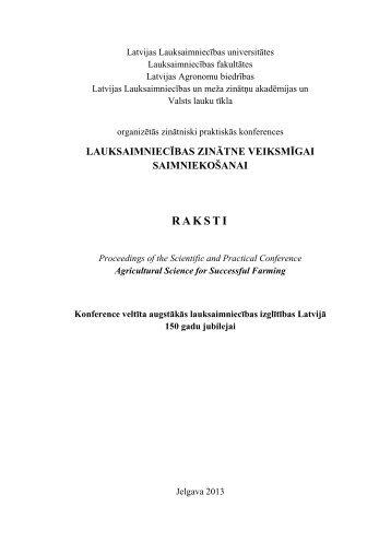 krāuma (proceedings) pdf - Latvijas Lauksaimniecības universitāte