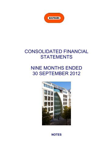 consolidated financial statements nine months ended 30 ... - Bouygues