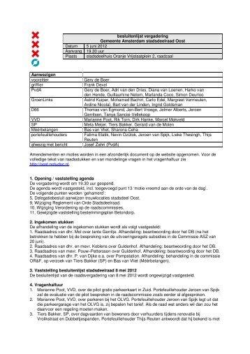 Besluitenlijst deelraad 5 juni 2012 - Stadsdeel Oost - Gemeente ...