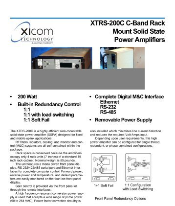 XTRS-200C C-Band Rack Mount Solid State Power Amplifiers • 200 ...