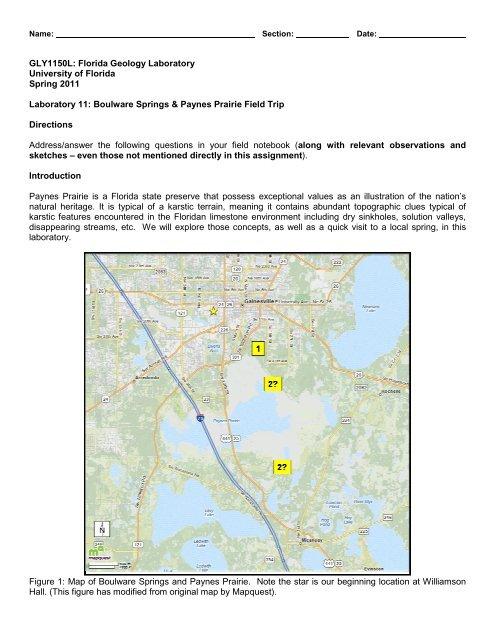 Map University Of Florida.Boulware Springs Paynes Prairie Fiel University Of Florida
