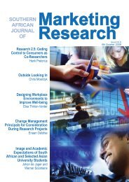 Marketing Research SOUTHERN AFRICAN JOURNAL OF - SAMRA