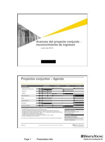 Avances del proyecto conjunto – reconocimiento de ingresos - IMEF