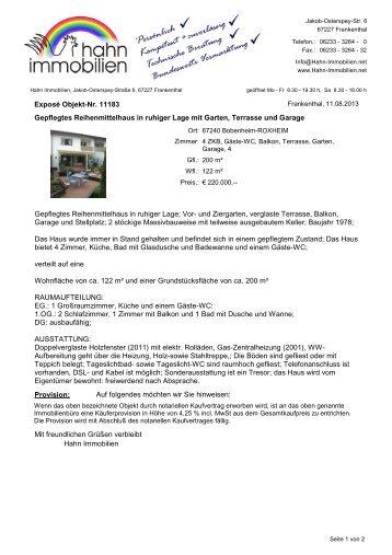 Gepflegtes Reihenmittelhaus in ruhiger Lage mit ... - Hahn-Immobilien