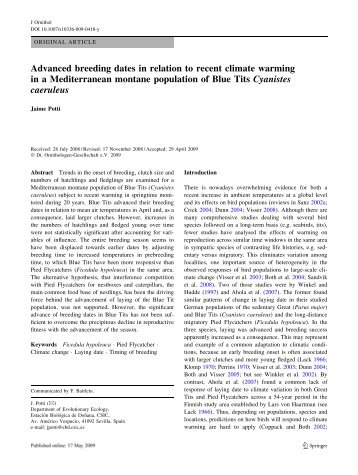 Advanced breeding dates in relation to recent climate warming in a ...