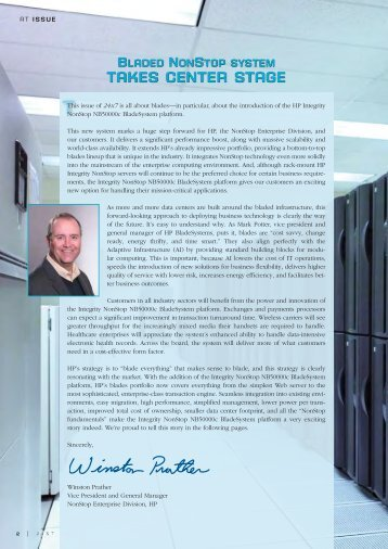 At issue: Winston Prather, VP & GM, introduces the Integrity NonStop ...