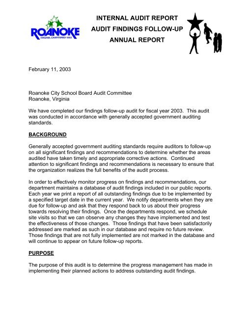 internal audit report audit findings follow-up     - City of