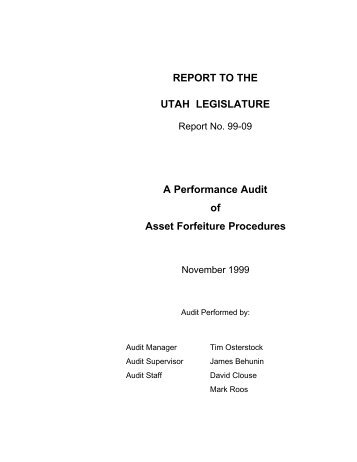 A Performance Audit of Asset Forfeiture Procedures - Utah State ...