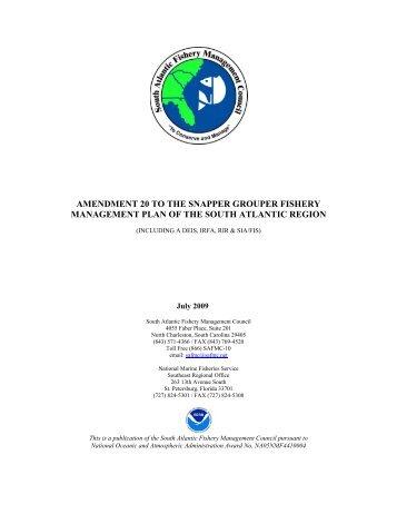Draft Snapper Grouper Amendment 20 - SAFMC.net